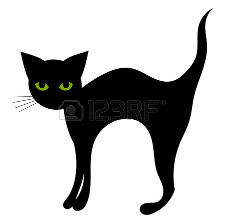 450x441 Black Cat Feline Halloween Icon Front View Vector Illustration