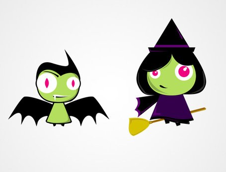 455x346 Cute Halloween Characters Bat Amp Witch Vectors (Free), Clipart