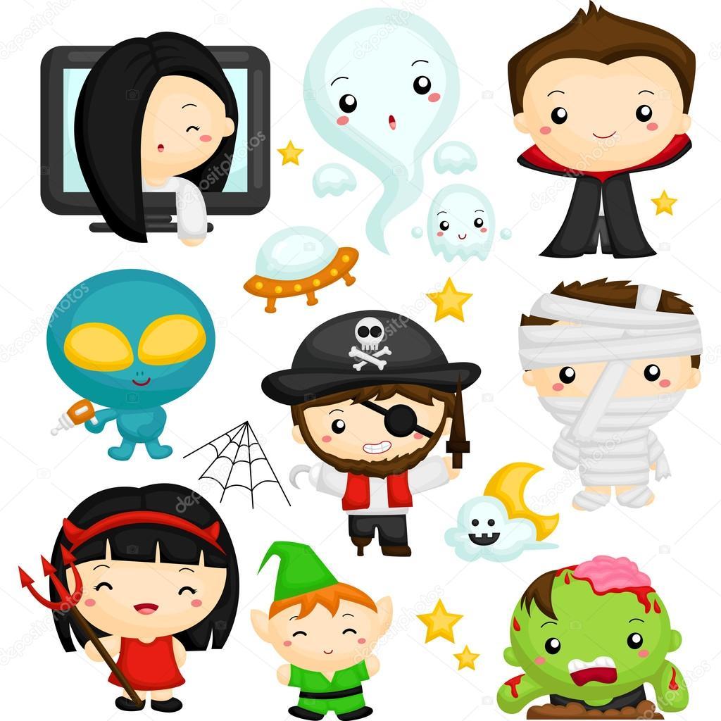 1024x1024 Cute Halloween Characters Stock Vector Comodo777