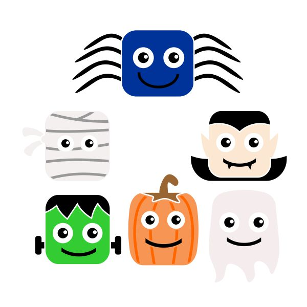 600x600 Halloween Characters Cuttable Design
