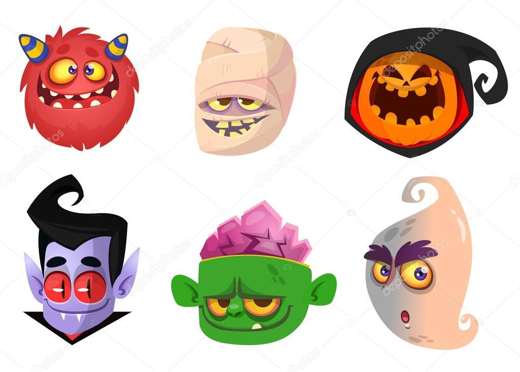 1023x731 Halloween Characters Icon Set. Cartoon Head Avatars Of Pumpkin