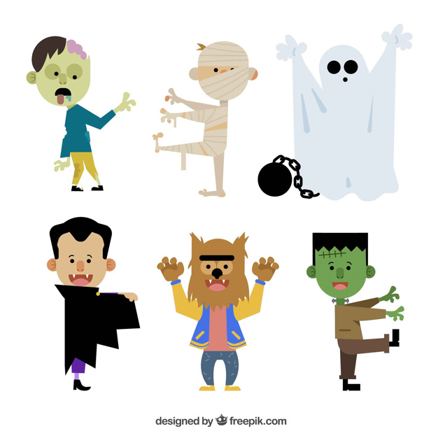 626x626 6 Halloween Characters On A White Background Vector Free Download