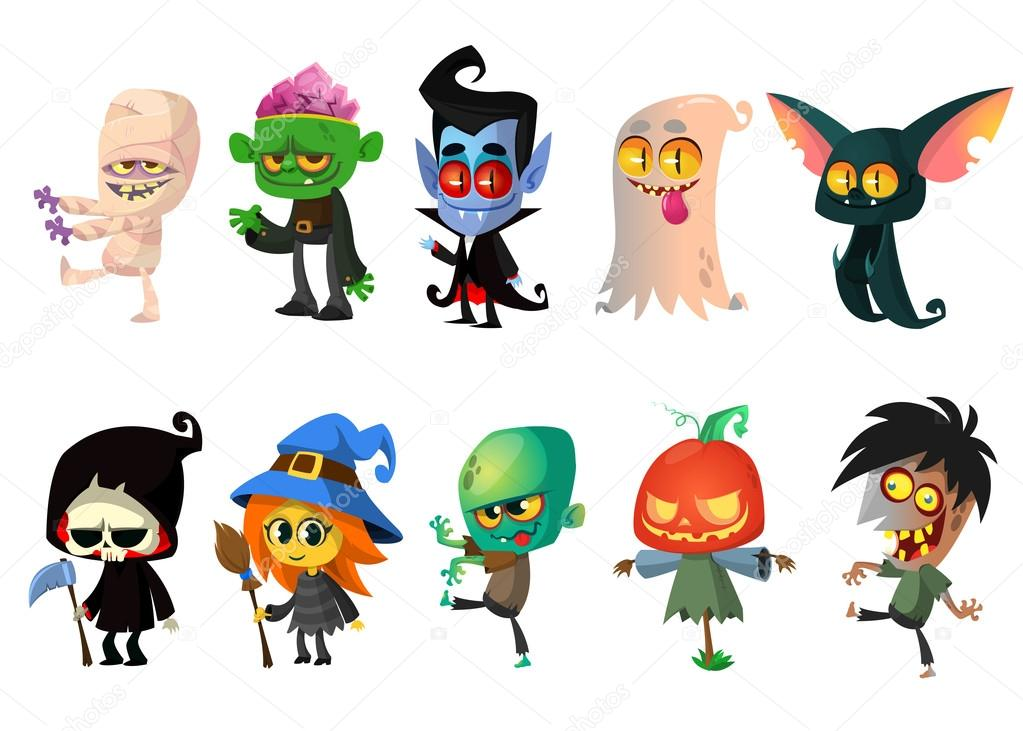 1023x731 Set Of Halloween Characters. Vector Mummy, Zombie, Vampire, Ghost