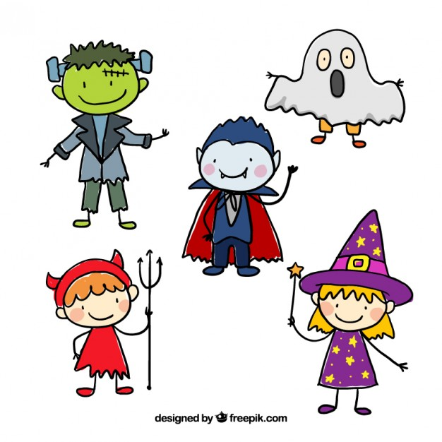 626x626 Sketchy Halloween Characters Vector Free Download