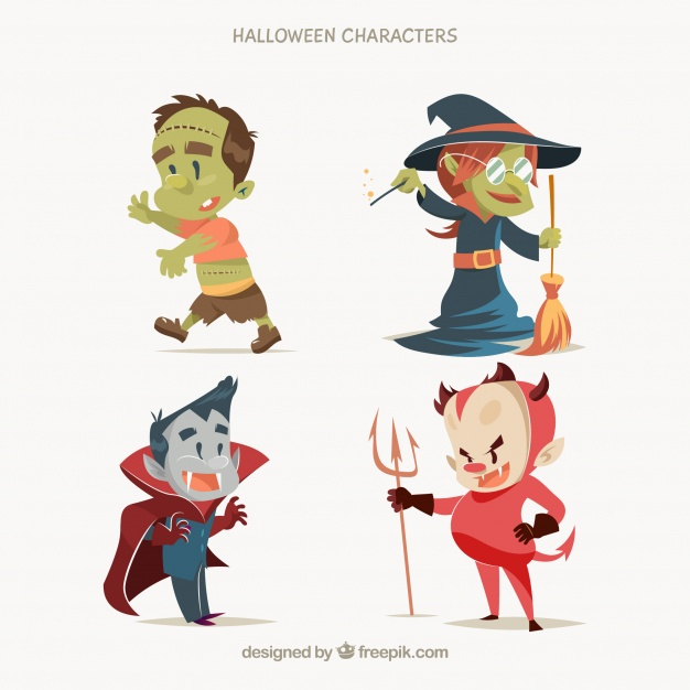 626x626 Typical Characters Of Halloween In A Cute Style Vector Free Download