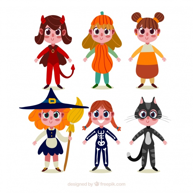 626x626 Various Children Characters Witch Halloween Costumes Vector Free