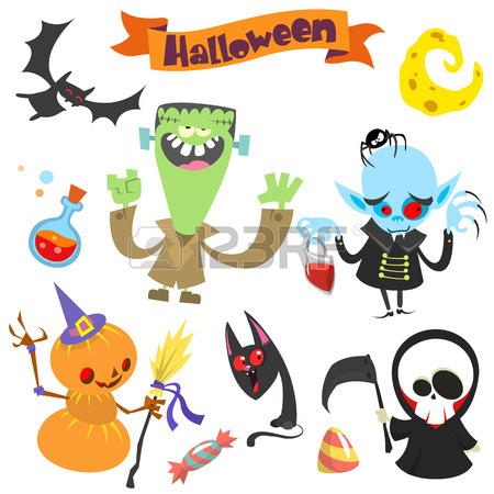 450x450 Cute Cartoon Halloween Characters Icon Set. Zombie, Pumpkin Head