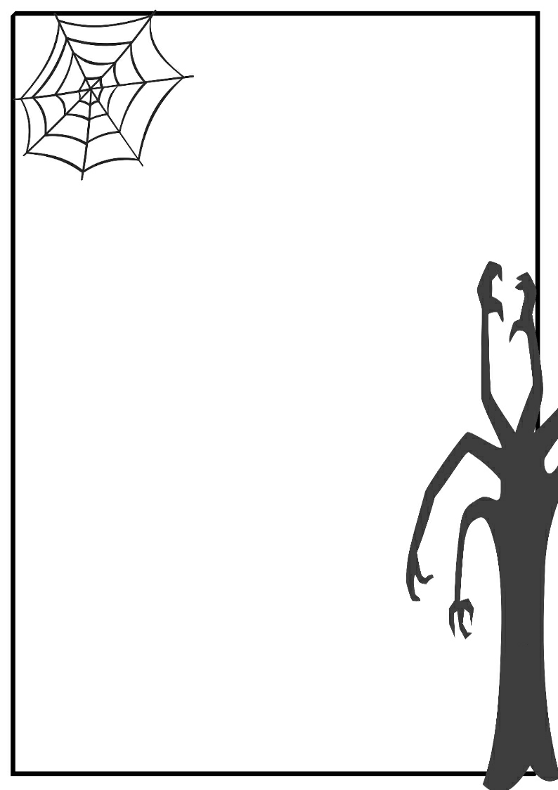 794x1123 Halloween Clipart Black And White Borders
