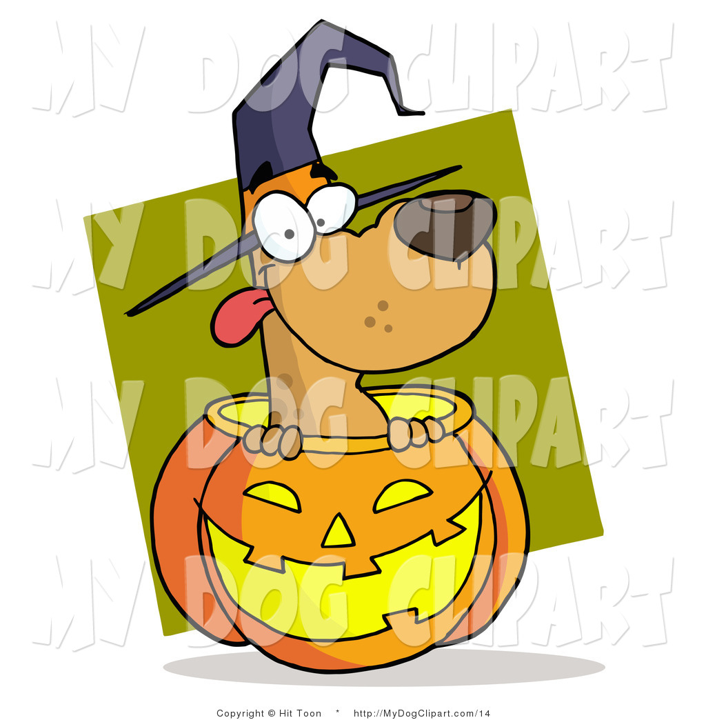1024x1044 Clip Art Of A Halloween Dog And Pumpkin By Hit Toon