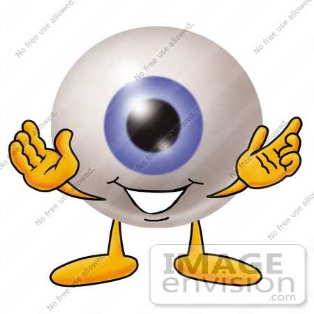 450x450 clip art graphic of a blue eyeball cartoon character with on