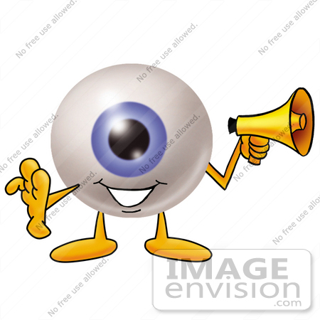 450x450 Clip Art Graphic of a Blue Eyeball Cartoon Character Holding a