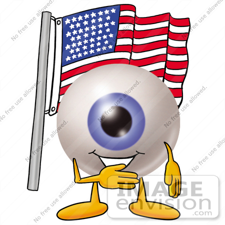 450x450 Clip Art Graphic of a Blue Eyeball Cartoon Character Pledging