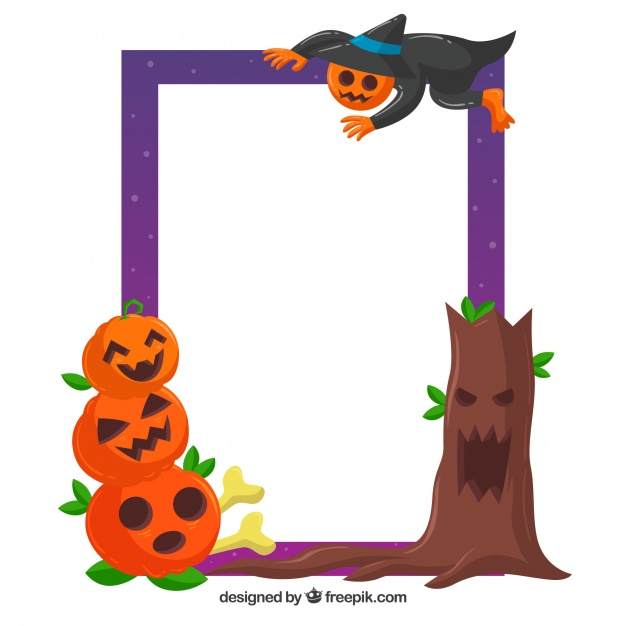 626x626 Creepy Halloween Frame With Flat Design Vector Free Download