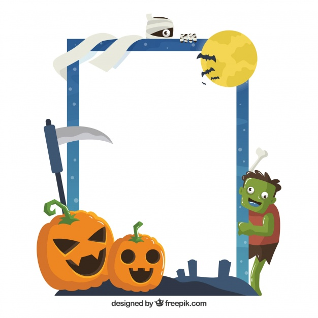 626x626 Fun halloween frame with flat design Vector Free Download