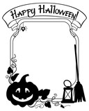 128x160 Black And White Frame With Halloween Pumpkin And Text Happy