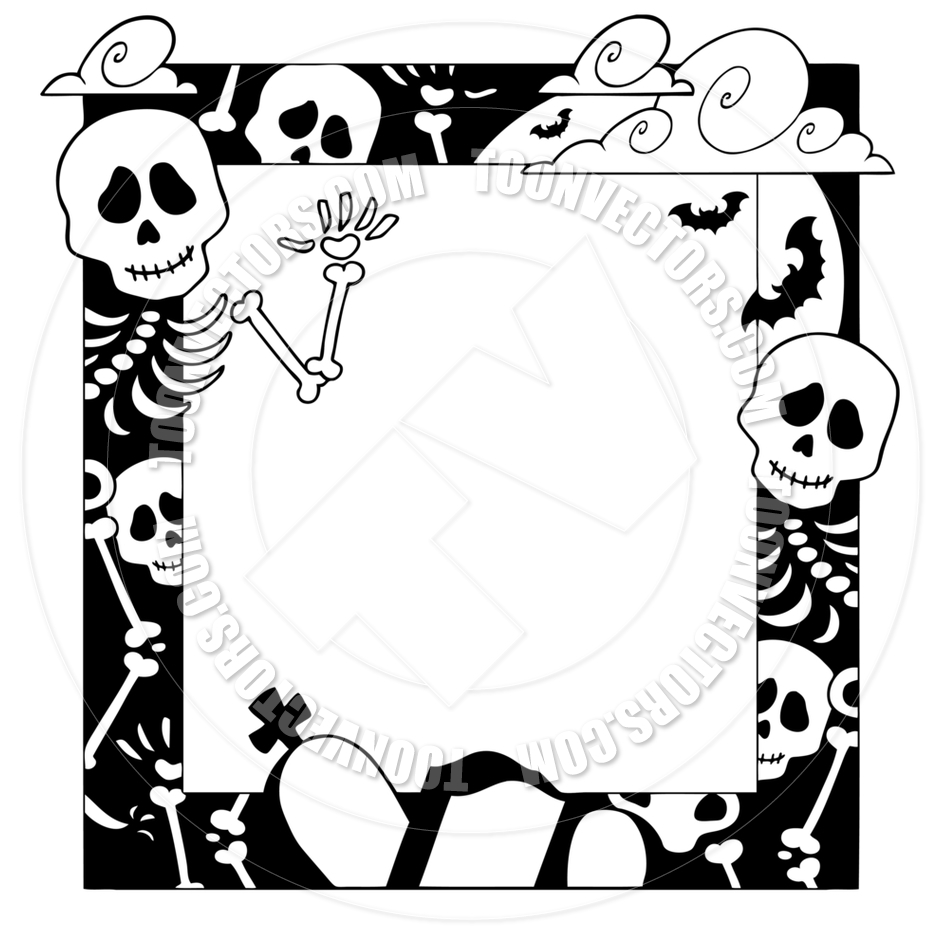 940x940 Cartoon Frame with Halloween Topic by clairev Toon Vectors EPS