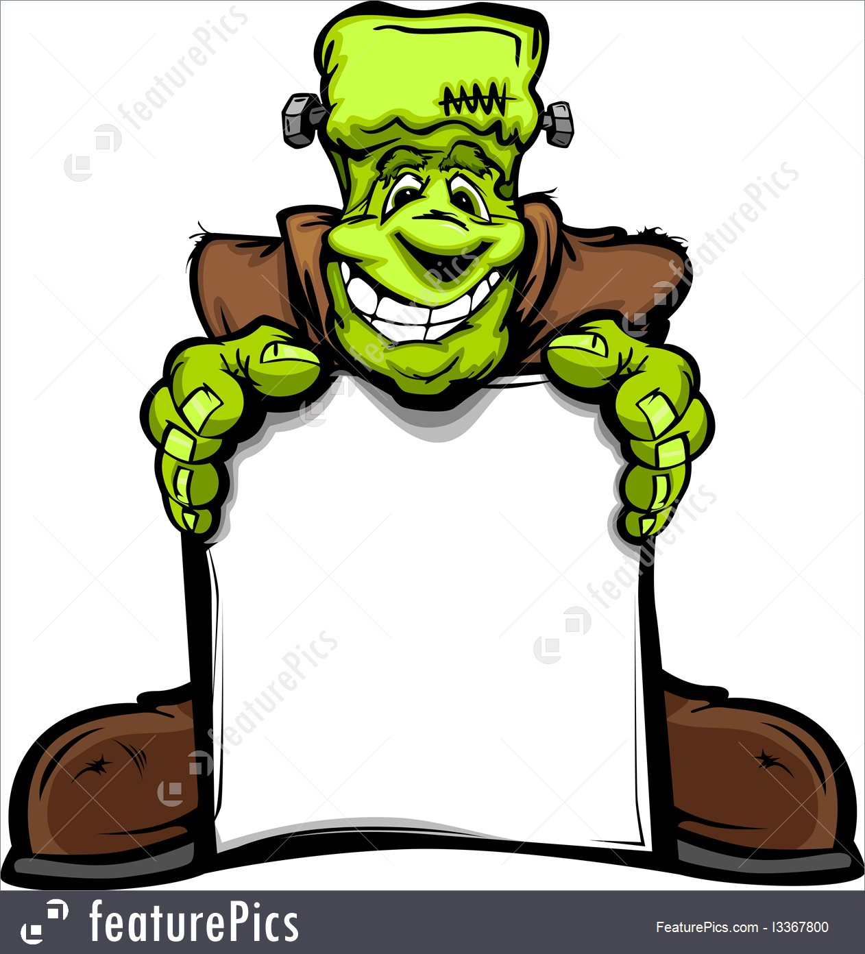 1262x1392 Halloween Happy Frankenstein Halloween Monster With Sign Cartoon