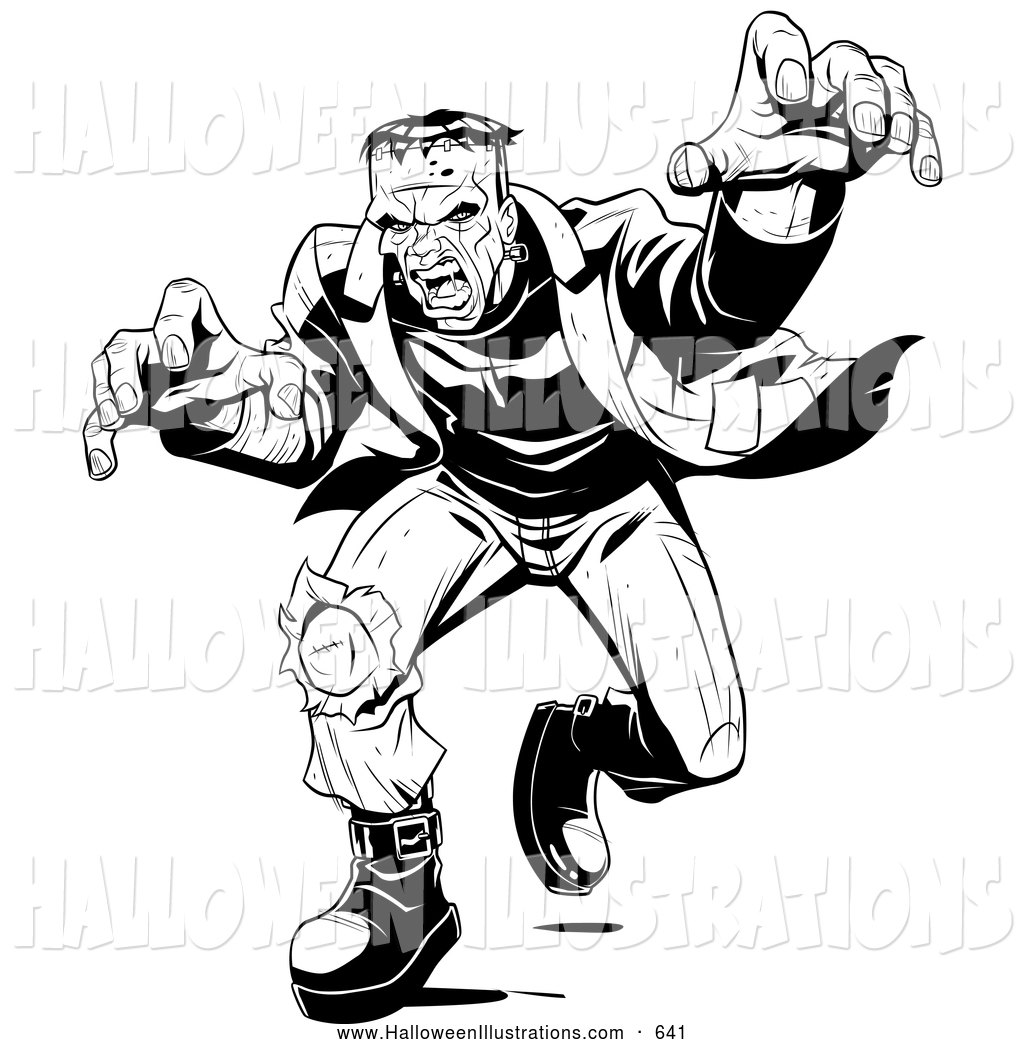 1024x1044 Halloween Clip Art of a Scary Angry Frankenstein Lunging Forward