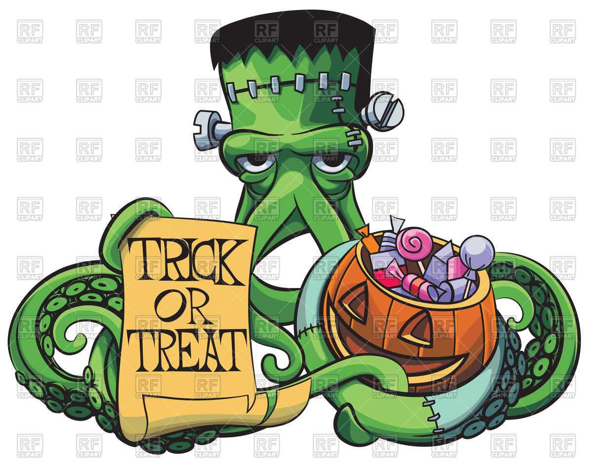 1200x941 Octopus the Frankenstein with Halloween pumpkin and paper poster