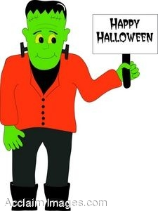 225x300 Clip Art of a Happy Halloween Frankenstein
