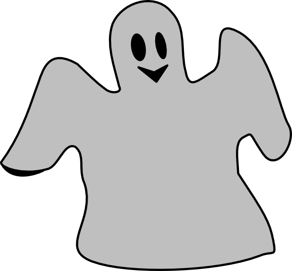 600x557 Smiling Gray Ghost Clip Art