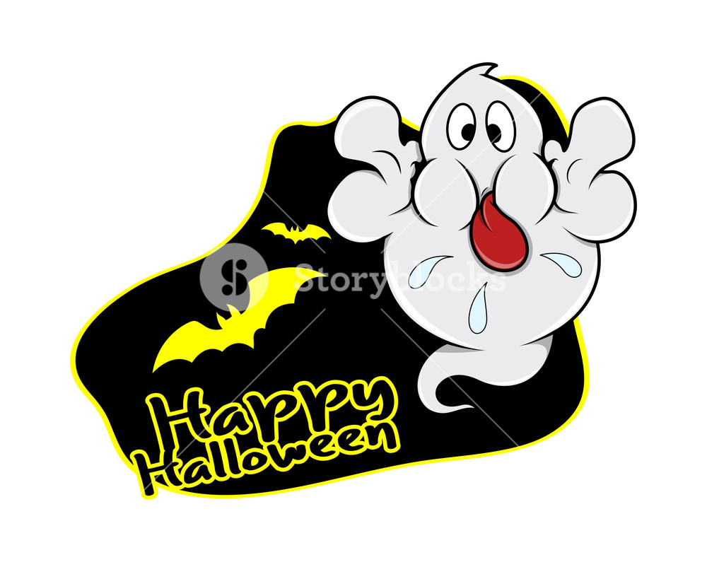 1000x795 Happy Halloween Ghost Vector Graphic Royalty Free Stock Image