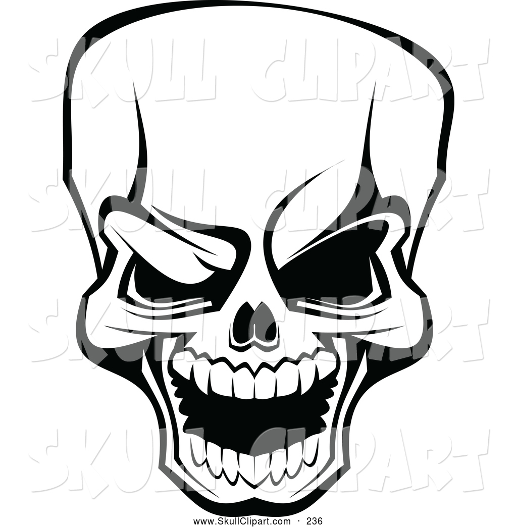1024x1044 Vector Clip Art of a Scary Angry Black and White Skull by Vector