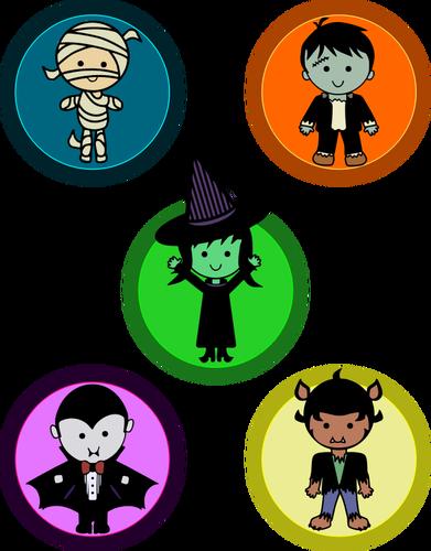 391x500 Cute Halloween Monster Badges Public Domain Vectors