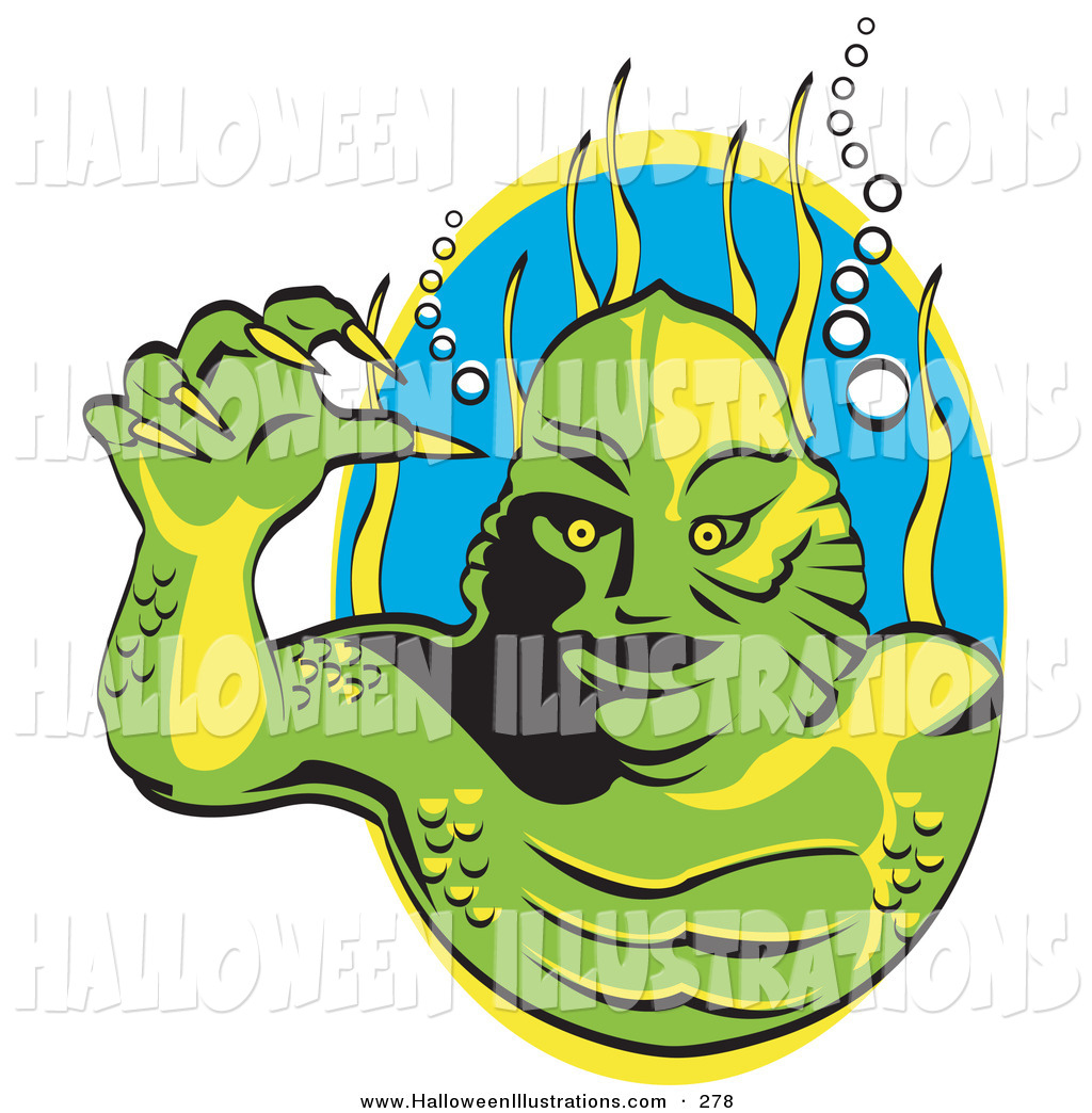 1024x1044 Halloween Clip Art Of A Scary Green Swamp Monster With Yellow