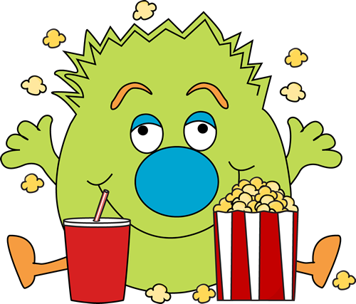 500x427 Monster With Popcorn Clip Art