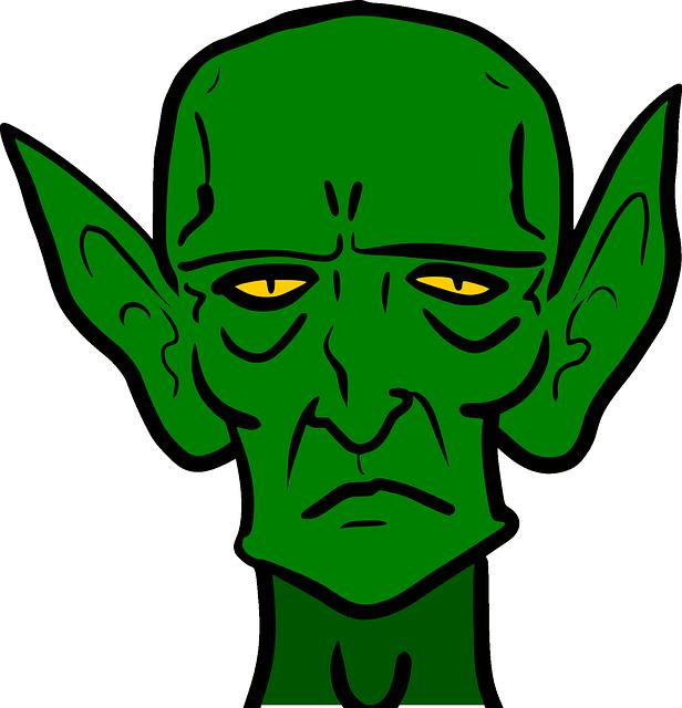 616x640 Scary Ear Clip Art Goblin, Monster, Sad, Green, Frown, Evil