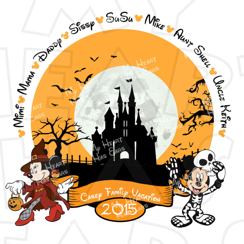 850x850 Mickey And Minnie Mouse Halloween With Personalized Family Names