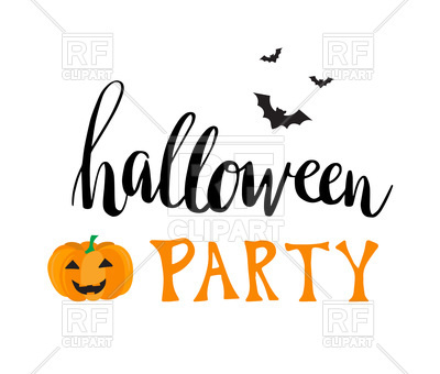 400x340 Greeting Card For Halloween Party With Smiling Pumpkin And Bats