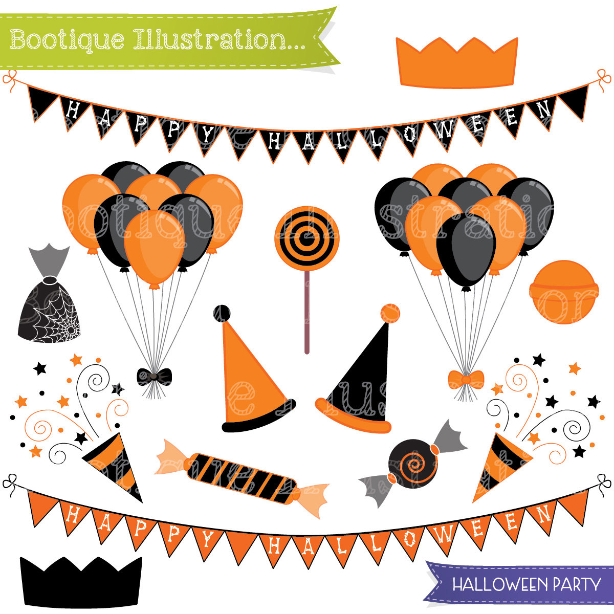 1200x1200 Hallowen Party Clipart Set. Halloween Clipart. Ballooons Clip Art