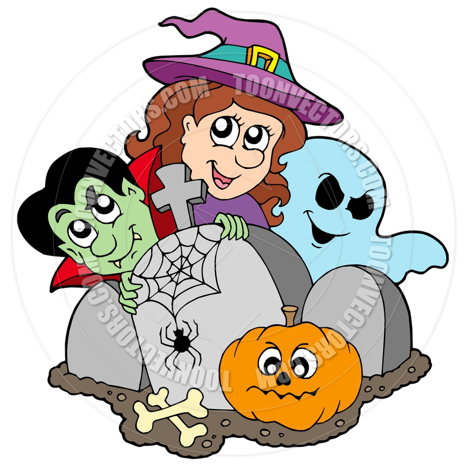 940x940 Cartoon Cemetery With Halloween Characters By Clairev Toon