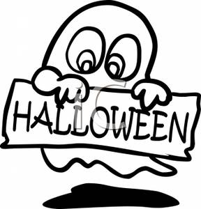 288x300 And White Cartoon Of A Ghost Holding A Halloween Sign