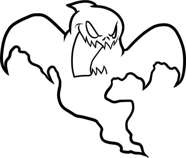 600x508 Drawn Ghost Halloween Coloring