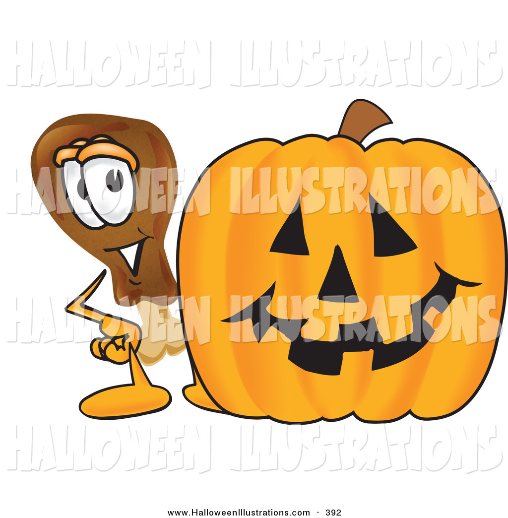 1024x1044 Halloween Clip Art Of A Chicken Drumstick Mascot Cartoon Character