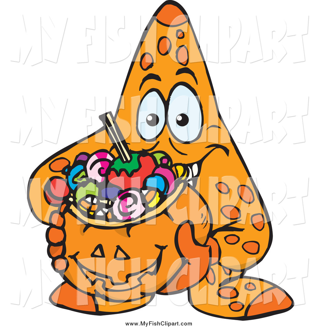1024x1044 Clip Art Of A Starfish Holding A Pumpkin Basket Full Of Halloween