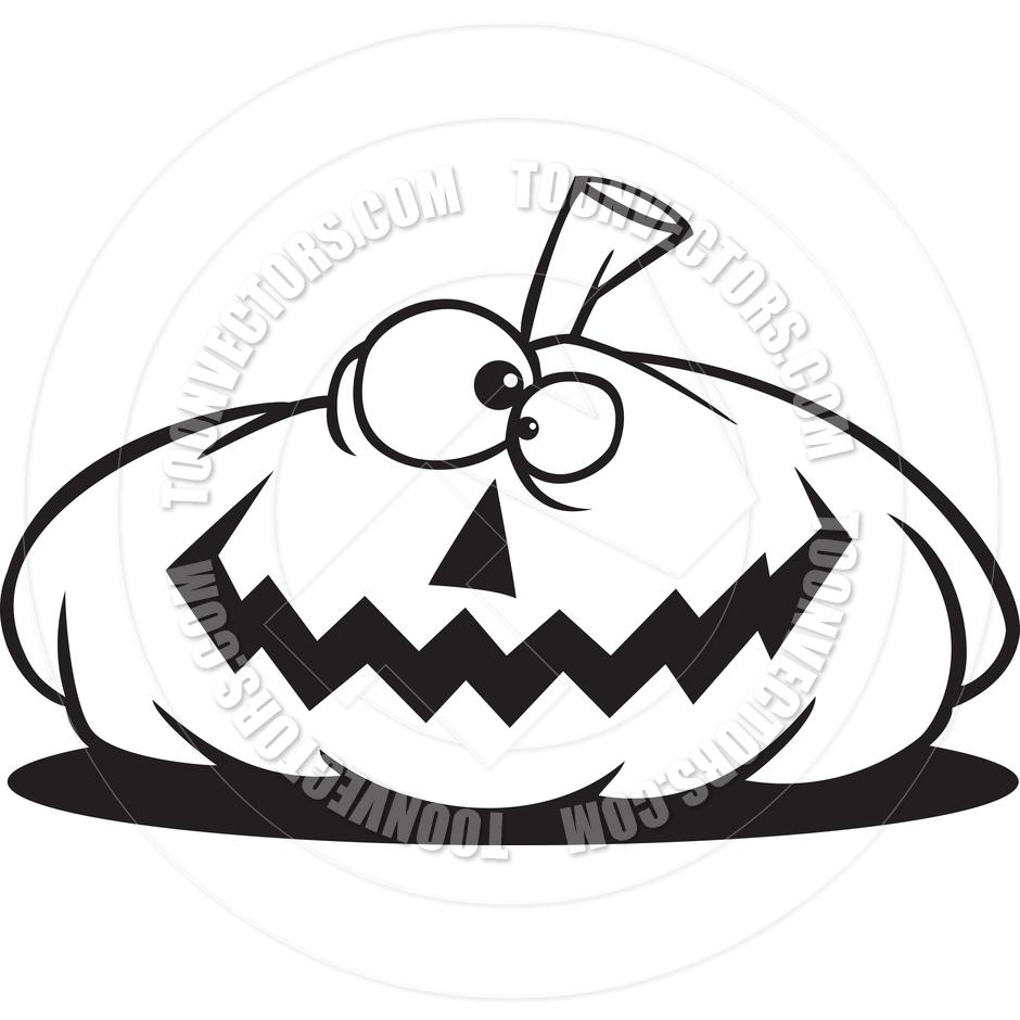 940x940 Cartoon Jack O' Lantern (Black And White Line Art) By Ron Leishman