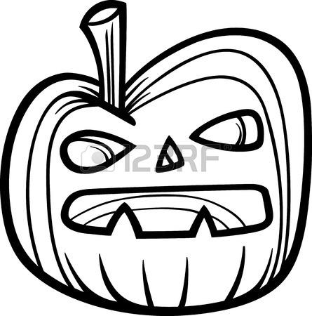 445x450 Black And White Cartoon Illustration Of Spooky Halloween Pumpkin