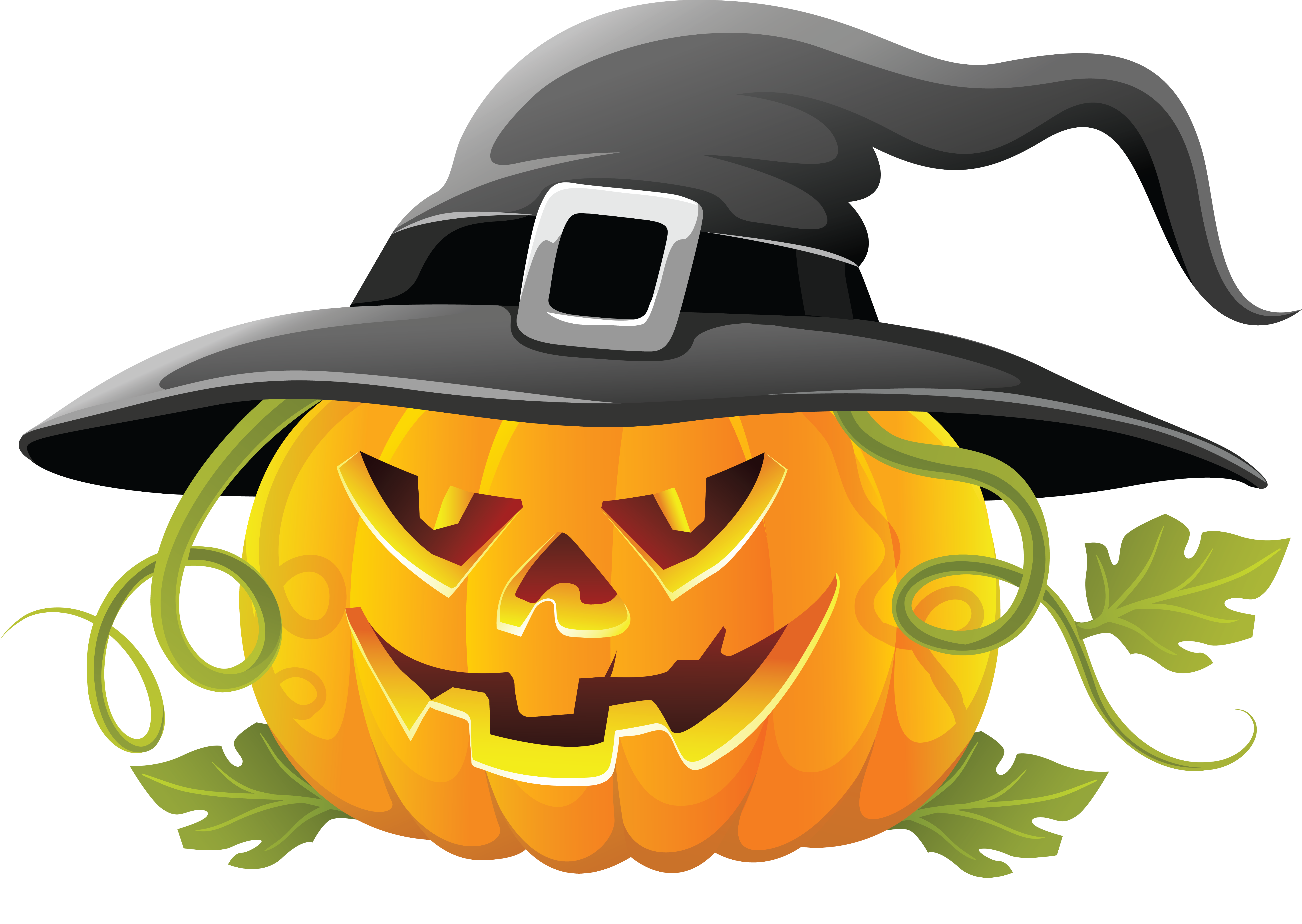 5863x4163 Large Transparent Halloween Pumpkin With Witch Hat Clipart