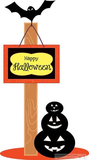 306x550 Halloween Clipart Halloween Hanging Sign Post Pumpkin Bat Clipart