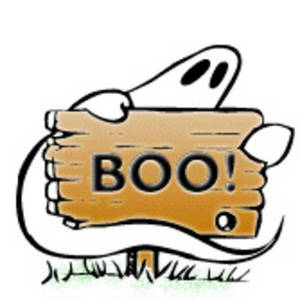 300x300 Halloween Clipart Picture Of A Ghost With A Boo Sign On A White