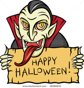 285x300 Vampire With A Long Tongue Holding A Halloween Sign Clip Art Image