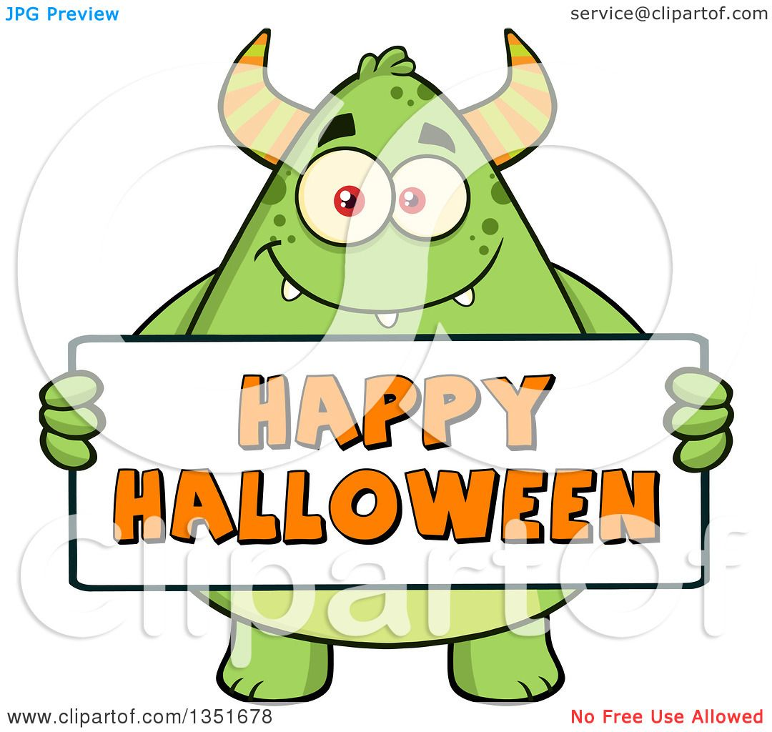 1080x1024 Clipart Of A Cartoon Chubby Green Horned Monster Holding A Happy