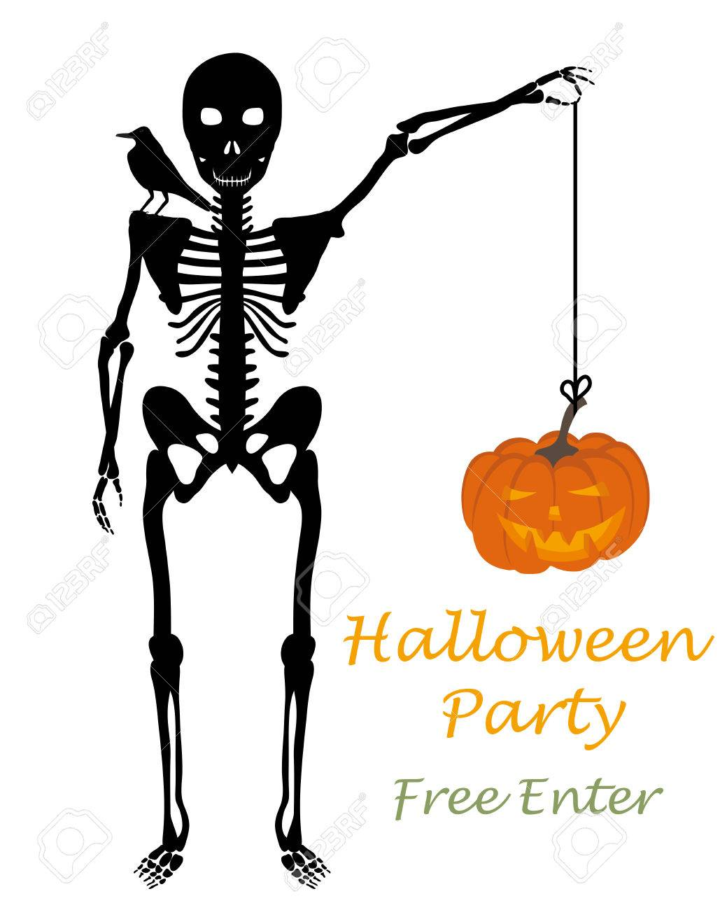 1039x1300 Halloween Greeting (Invitation) Card. Elegant Design With Skeleton