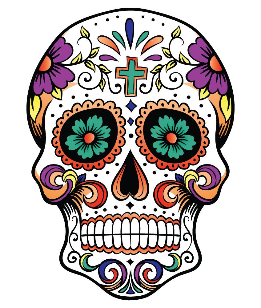 848x1000 Halloween Sugar Skull Clipart