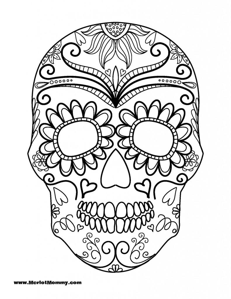 791x1024 Sugar Skulls Coloring Pages