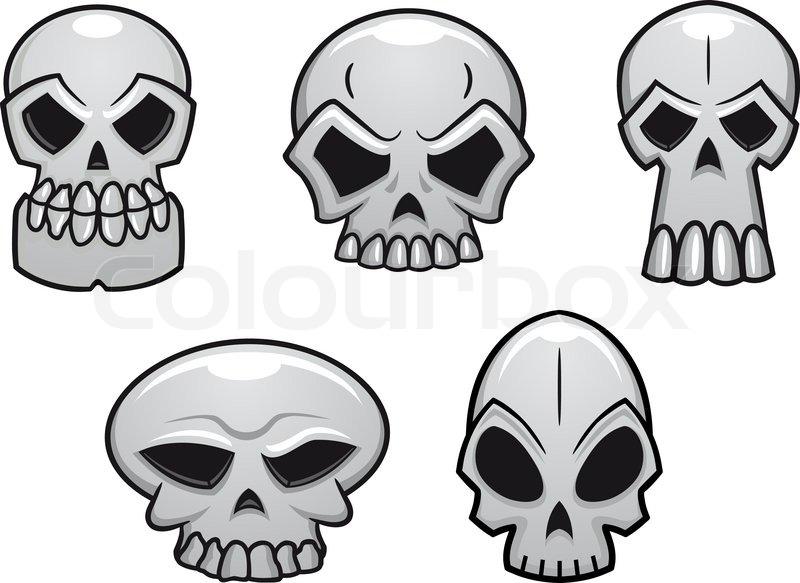 800x583 Different Human Skulls For Halloween In Cartoon Style Stock
